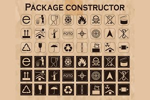 Packaging symbols icon set
