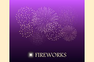 Firework show on violet background