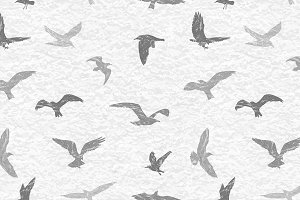 Birds grunge seamless pattern
