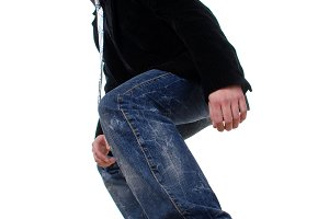 man in a black jacket