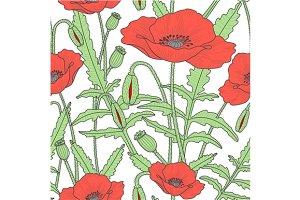 2 seamless patterns, poppy flowers