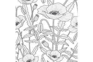2 seamless patterns, poppy flowers
