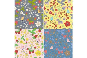 8 seamless strawberry patterns