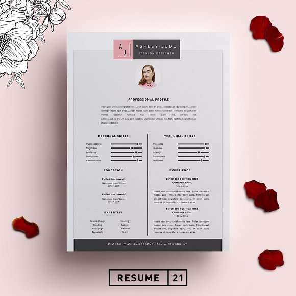 Fashion Designer Resume Template Cv Creative Resume Templates Creative Market