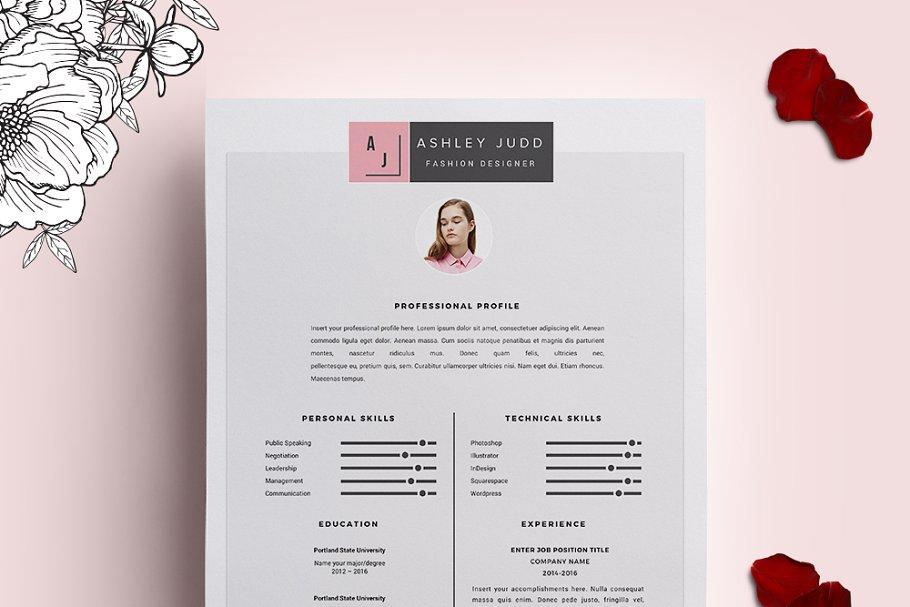 Fashion Designer Resume Template Cv Creative Resume Templates Creative Market