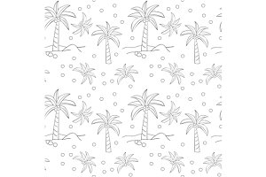 Seamless pattern with of palm trees