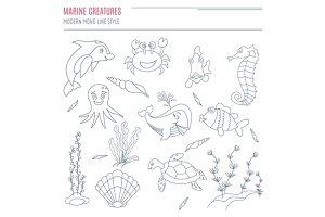 Hand drawn sea creatures