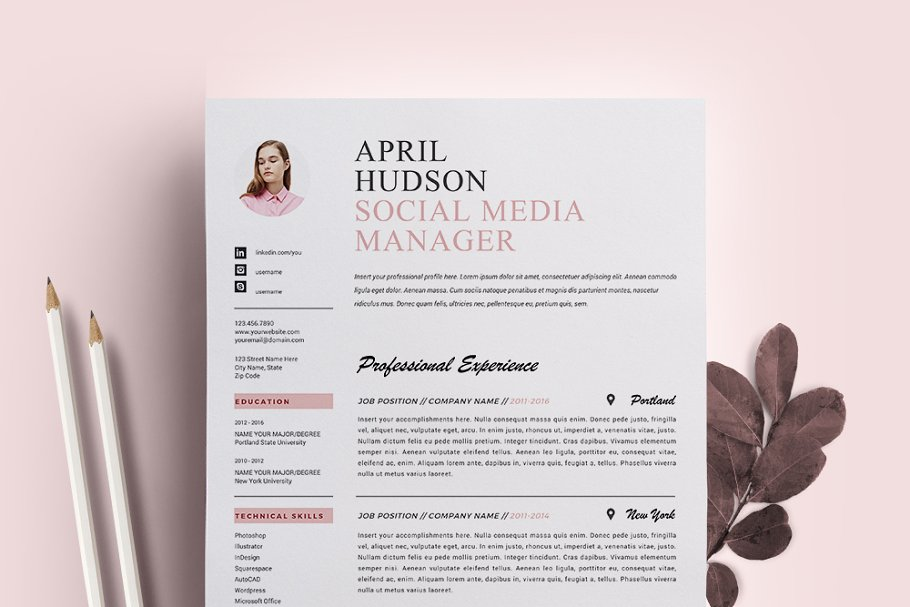 Social Media Resume Template CV Templates Creative Market