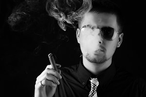 attractive man with cigar