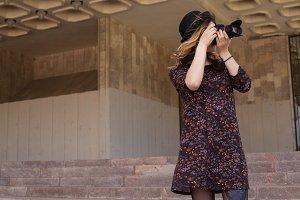 Girl making photo