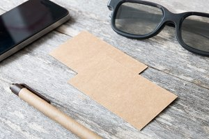 business cards on wooden table