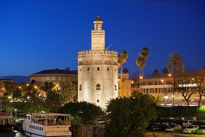 Torre del Oro at Night in Seville