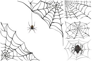 Set black spider web