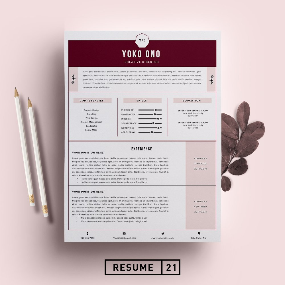 creative director resume template cv resume templates creative market. Black Bedroom Furniture Sets. Home Design Ideas