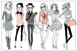 set with 6 fashion sketched girls-2