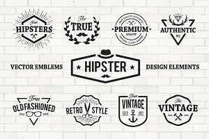 Hipster Emblems Vector Set