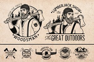 Set of  Lumberjack Vector Labels.