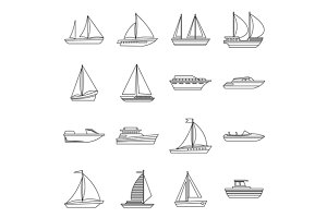 Boat and ship icons set