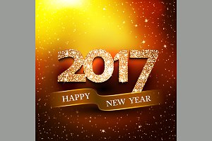 Happy new year 2017 gold background