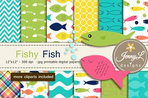 Fish Digital Papers and Clipart