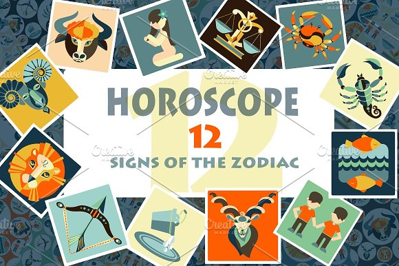 12 signs of the zodiac. HOROSCOPE - Illustrations