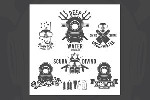 Set of diving vintage labels