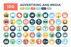 100 Flat Advertising and Media Icons