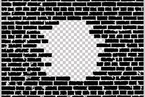 Vector broken realistic brick wall