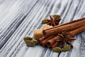 Cinnamon, star anise, cardamom