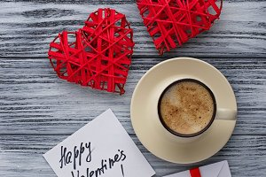 Hearts, cup of coffee, greating card