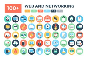 100+ Flat Web and Networking Icons
