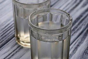 Glasses of Russian vodka
