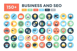 150+ Flat Business and Seo Icons