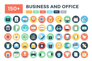 150+ Flat Business and Office Icons
