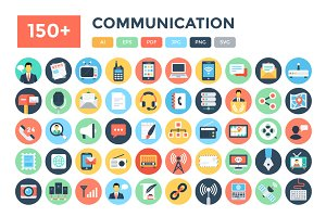 150+ Flat Communication Icons