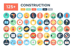 125+ Flat Construction Icons