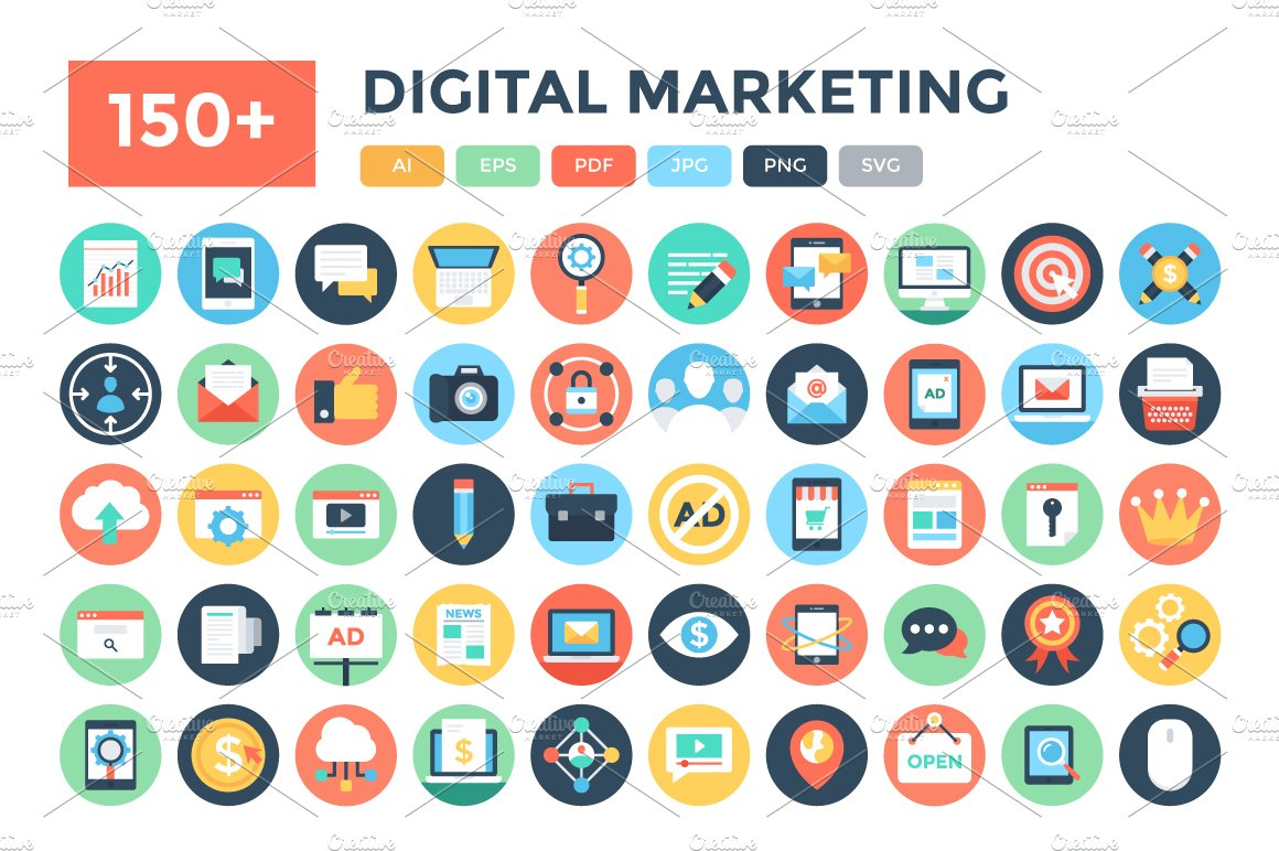 150 Flat Digital Marketing Icons Icons Creative Market