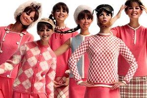 Digital Clipart Mod Girls - 1960s