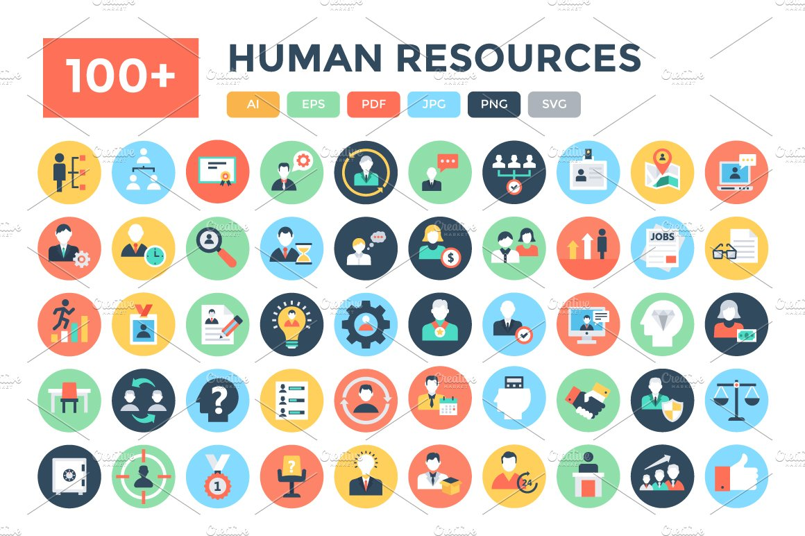 100+ Flat Human Resources Icons ~ Icons ~ Creative Market