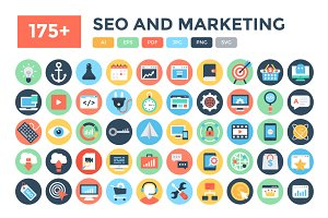175+ Flat Seo and Marketing Icons