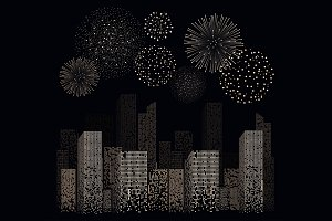 Firework show on night city