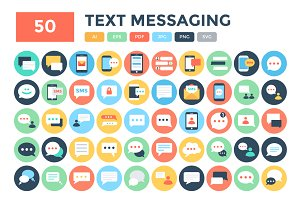 50 Flat Text Messaging Icons