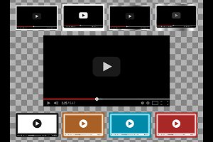 Vector video player templates pack