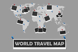 World travel map with photo frames