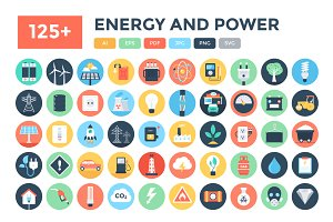 125+ Flat Energy and Power Icons