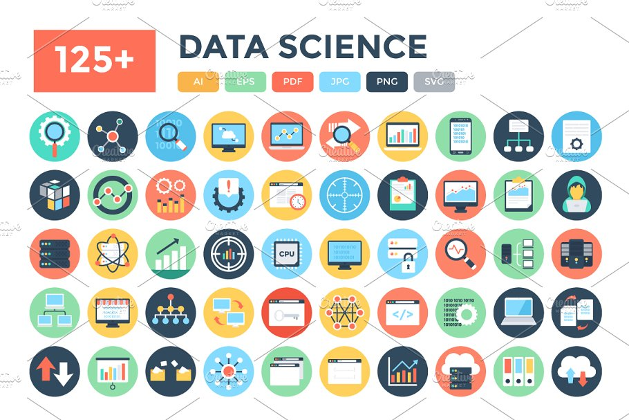 125+ Flat Data Science Vector Icons