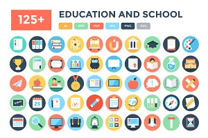 125+ Flat Education and School Icons