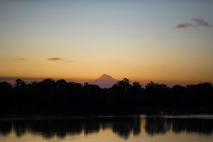 Sunrise with Mount Hood and River