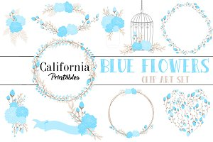 Blue Flowers Clipart Set