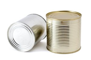 Tin cans on white background